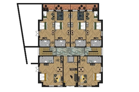 Plattegrond Luxe Groepshotel Berg en Dal, 1e verdieping