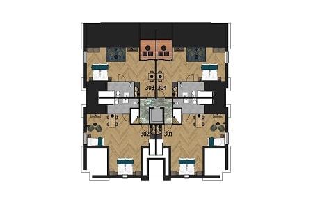 Plattegrond Groepshotel, 3e verdieping