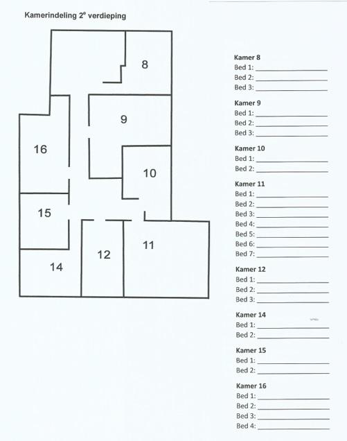 Plattegrond Groepsaccommodatie Het Uitzicht Groesbeek, 2e verdieping